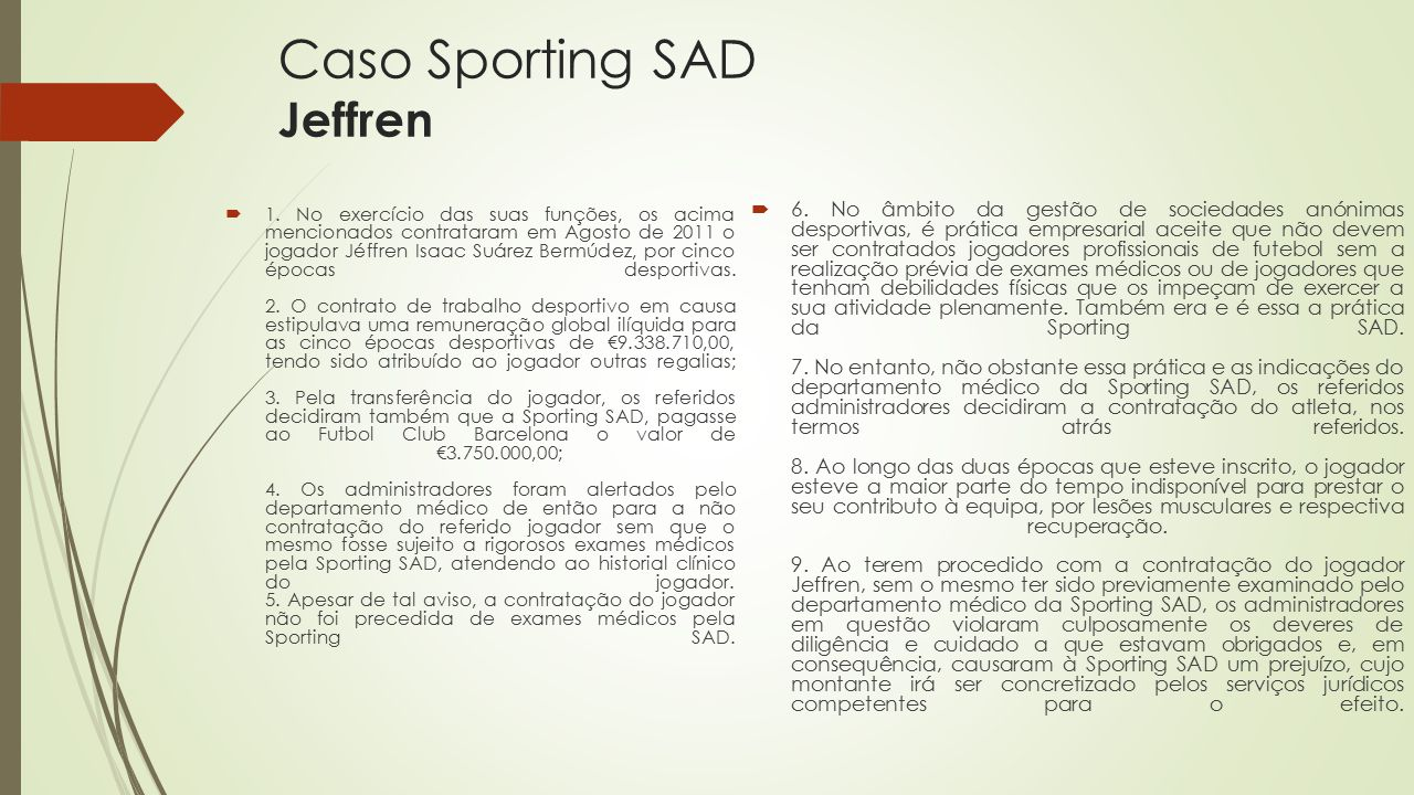 Caso Sporting SAD Jeffren