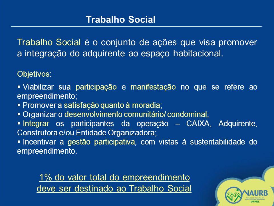 Trabalho Social Trabalho Social é o conjunto de ações que visa promover a integração do adquirente ao espaço habitacional.