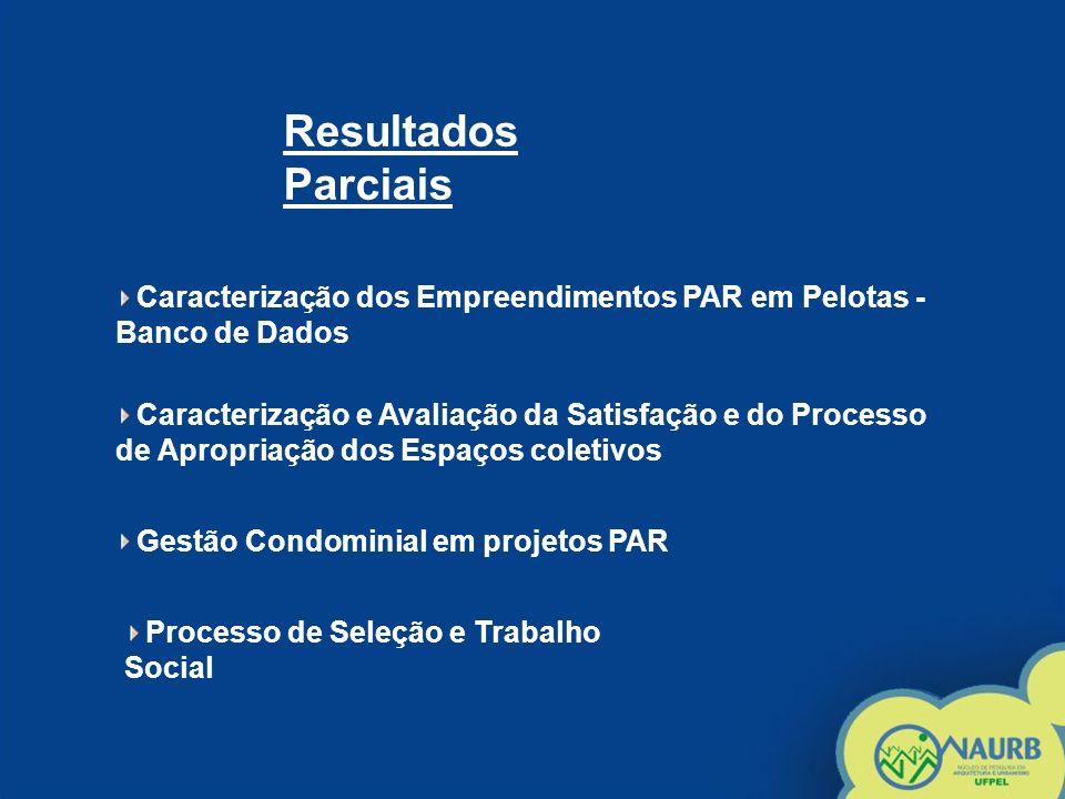 Resultados Parciais Caracterização dos Empreendimentos PAR em Pelotas - Banco de Dados.