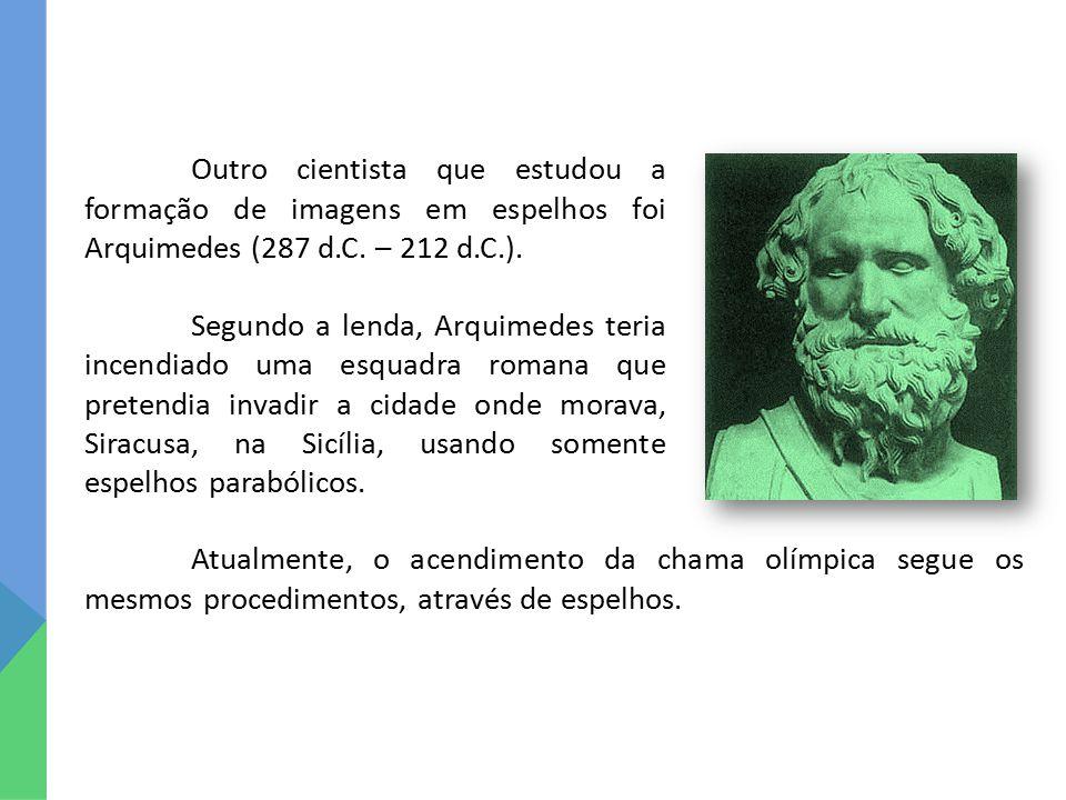 Outro cientista que estudou a formação de imagens em espelhos foi Arquimedes (287 d.C. – 212 d.C.).