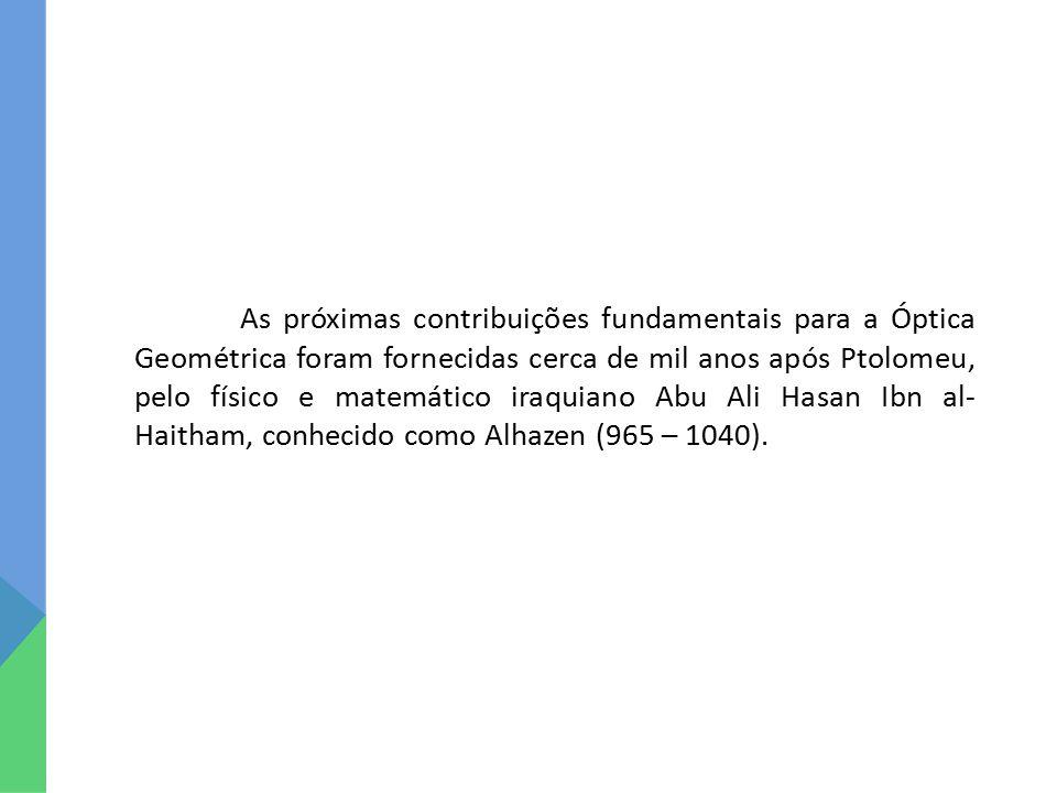 As próximas contribuições fundamentais para a Óptica Geométrica foram fornecidas cerca de mil anos após Ptolomeu, pelo físico e matemático iraquiano Abu Ali Hasan Ibn al-Haitham, conhecido como Alhazen (965 – 1040).
