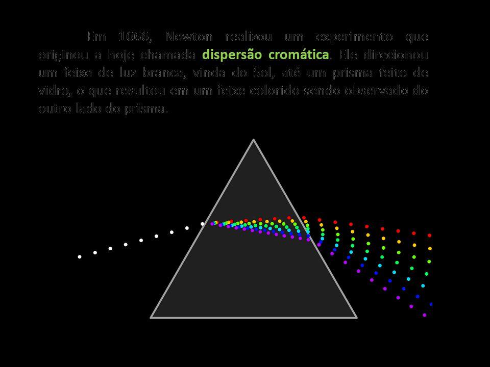 Em 1666, Newton realizou um experimento que originou a hoje chamada dispersão cromática. Ele direcionou um feixe de luz branca, vinda do Sol, até um prisma feito de vidro, o que resultou em um feixe colorido sendo observado do outro lado do prisma.