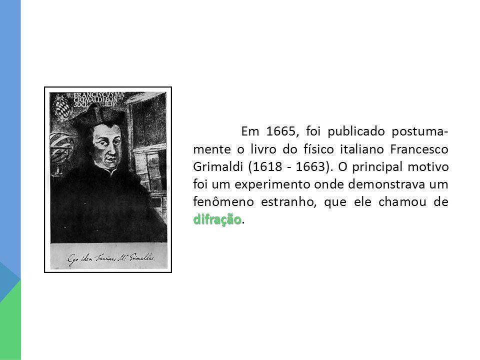 Em 1665, foi publicado postuma-mente o livro do físico italiano Francesco Grimaldi (1618 - 1663).