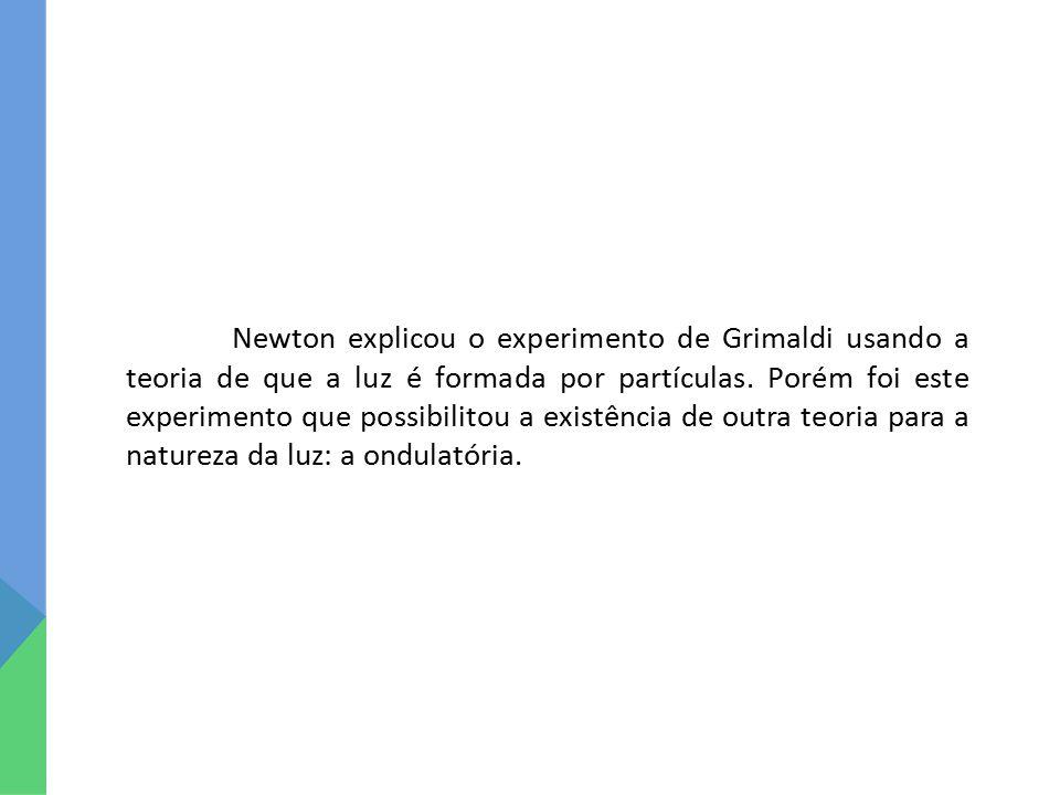 Newton explicou o experimento de Grimaldi usando a teoria de que a luz é formada por partículas.