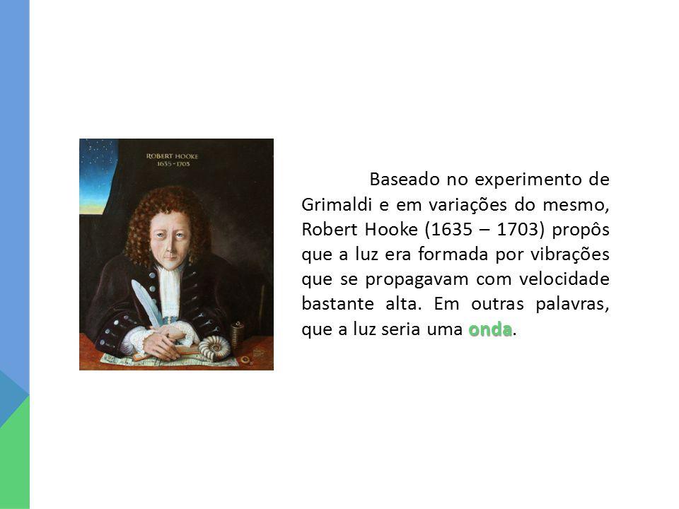 Baseado no experimento de Grimaldi e em variações do mesmo, Robert Hooke (1635 – 1703) propôs que a luz era formada por vibrações que se propagavam com velocidade bastante alta.