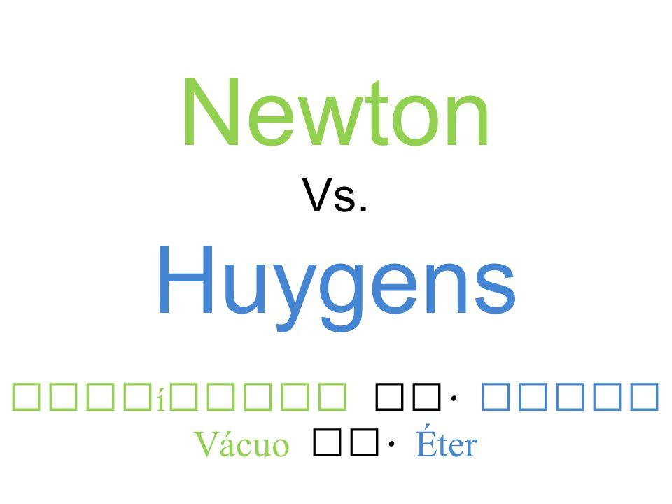 Newton Vs. Huygens Partículas Vs. Ondas Vácuo Vs. Éter