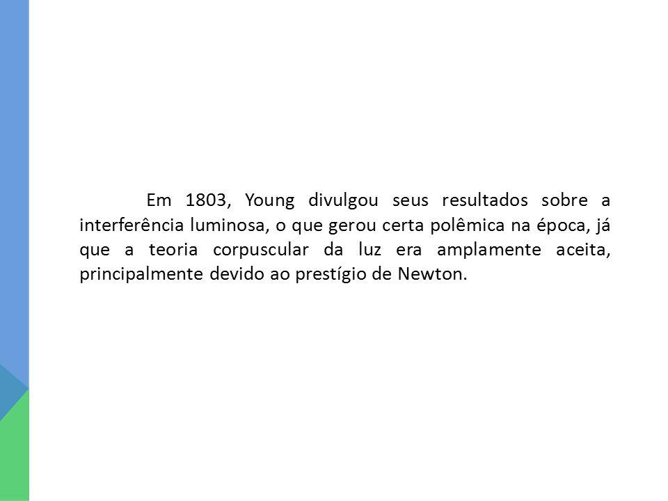 Em 1803, Young divulgou seus resultados sobre a interferência luminosa, o que gerou certa polêmica na época, já que a teoria corpuscular da luz era amplamente aceita, principalmente devido ao prestígio de Newton.