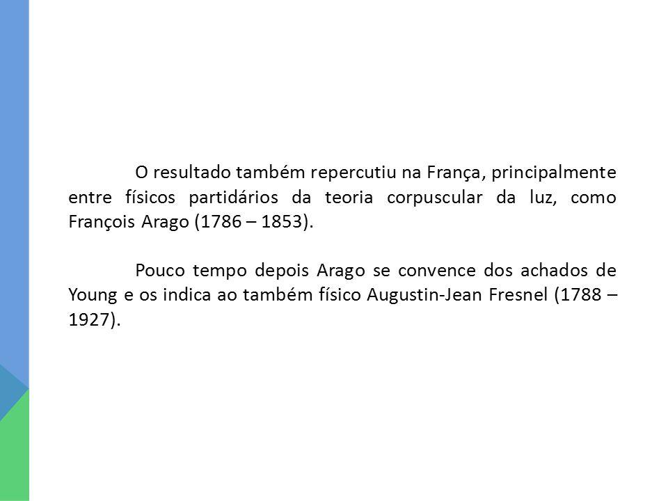 O resultado também repercutiu na França, principalmente entre físicos partidários da teoria corpuscular da luz, como François Arago (1786 – 1853).
