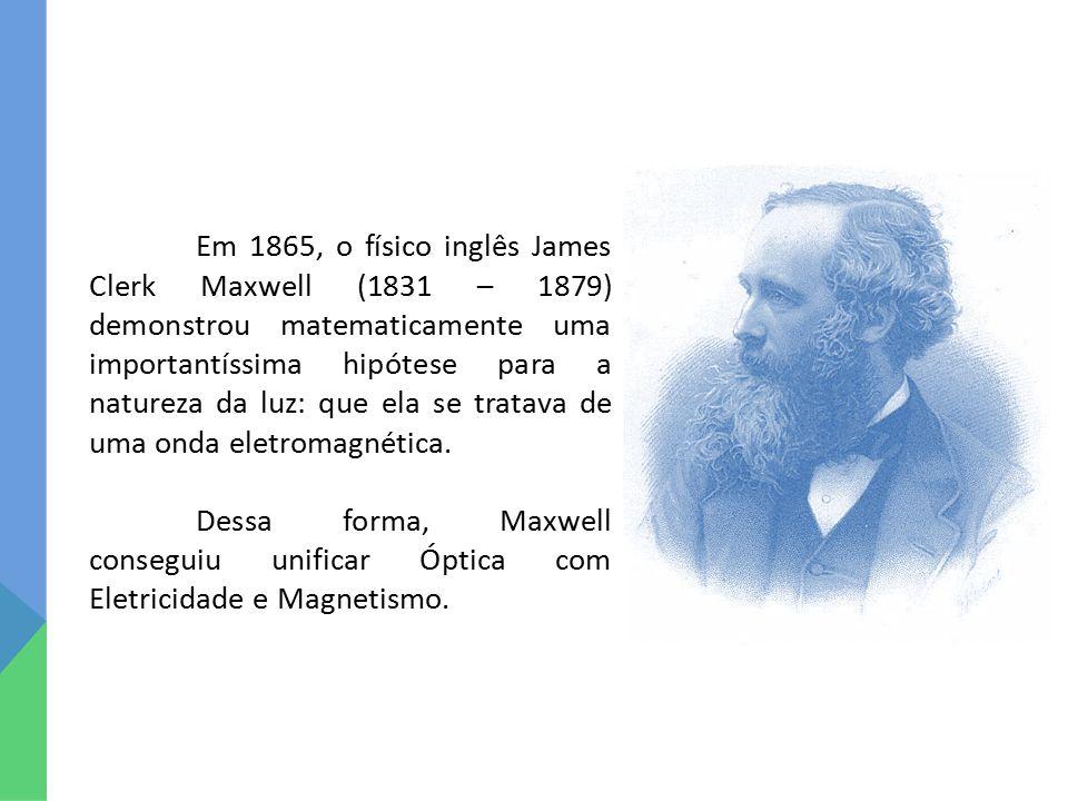 Em 1865, o físico inglês James Clerk Maxwell (1831 – 1879) demonstrou matematicamente uma importantíssima hipótese para a natureza da luz: que ela se tratava de uma onda eletromagnética.