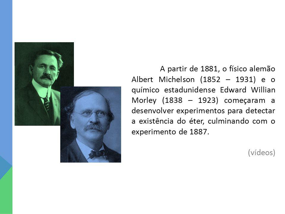 A partir de 1881, o físico alemão Albert Michelson (1852 – 1931) e o químico estadunidense Edward Willian Morley (1838 – 1923) começaram a desenvolver experimentos para detectar a existência do éter, culminando com o experimento de 1887.