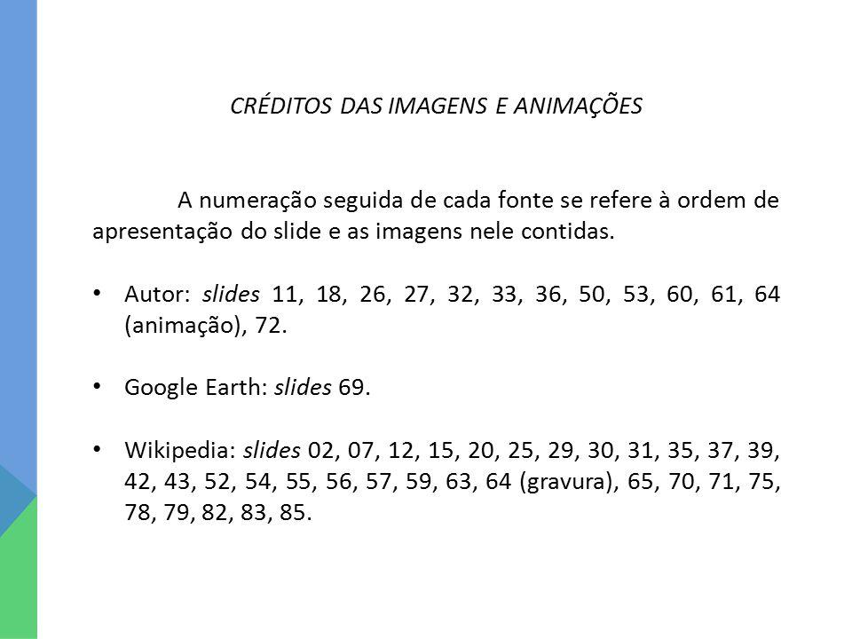 CRÉDITOS DAS IMAGENS E ANIMAÇÕES