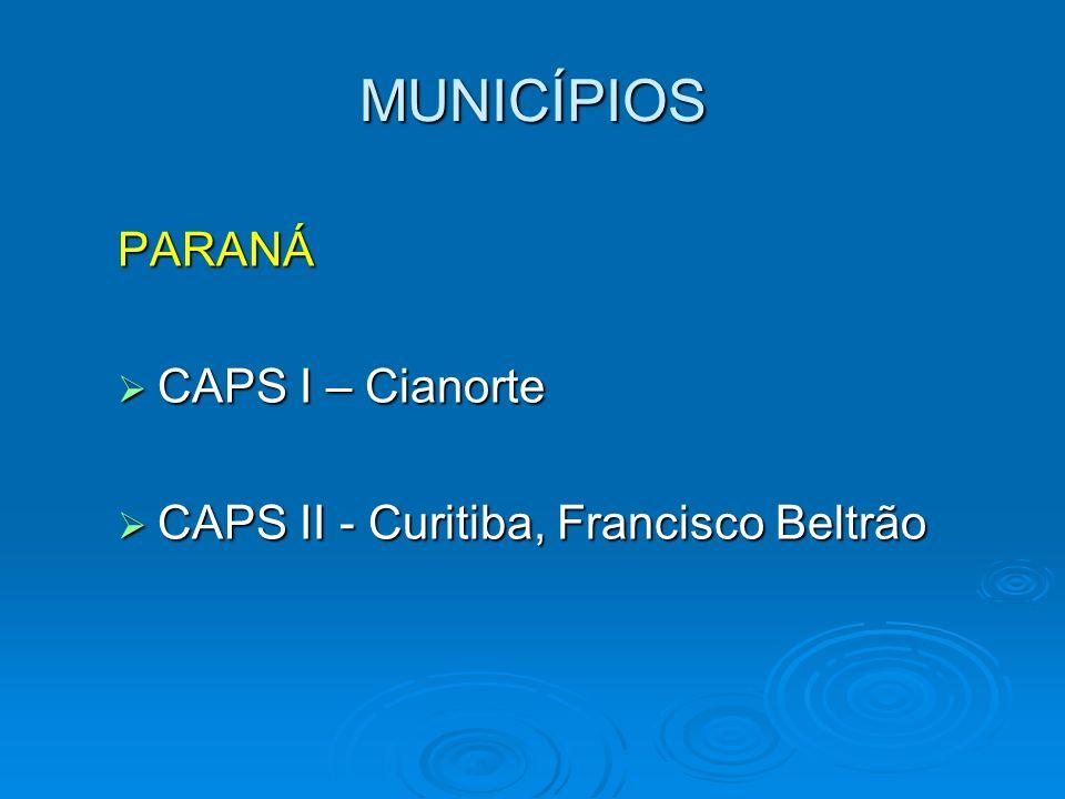 MUNICÍPIOS PARANÁ CAPS I – Cianorte