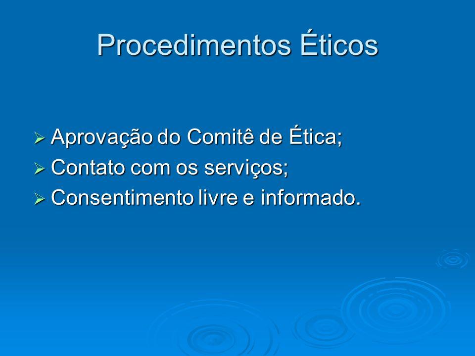 Procedimentos Éticos Aprovação do Comitê de Ética;