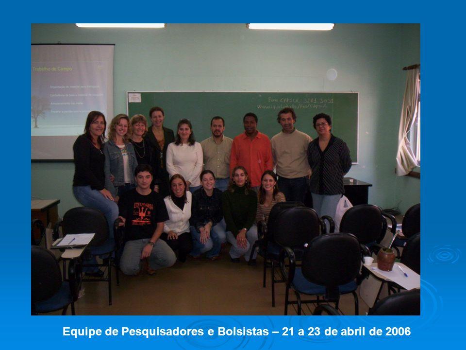 Equipe de Pesquisadores e Bolsistas – 21 a 23 de abril de 2006