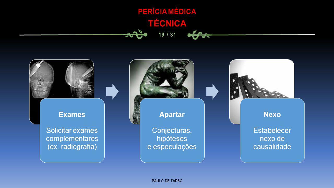 TÉCNICA PERÍCIA MÉDICA Exames Solicitar exames complementares