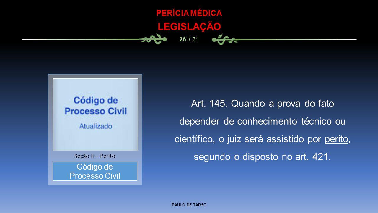 PERÍCIA MÉDICA LEGISLAÇÃO. 26 / 31. Código de. Processo Civil. Seção II – Perito.