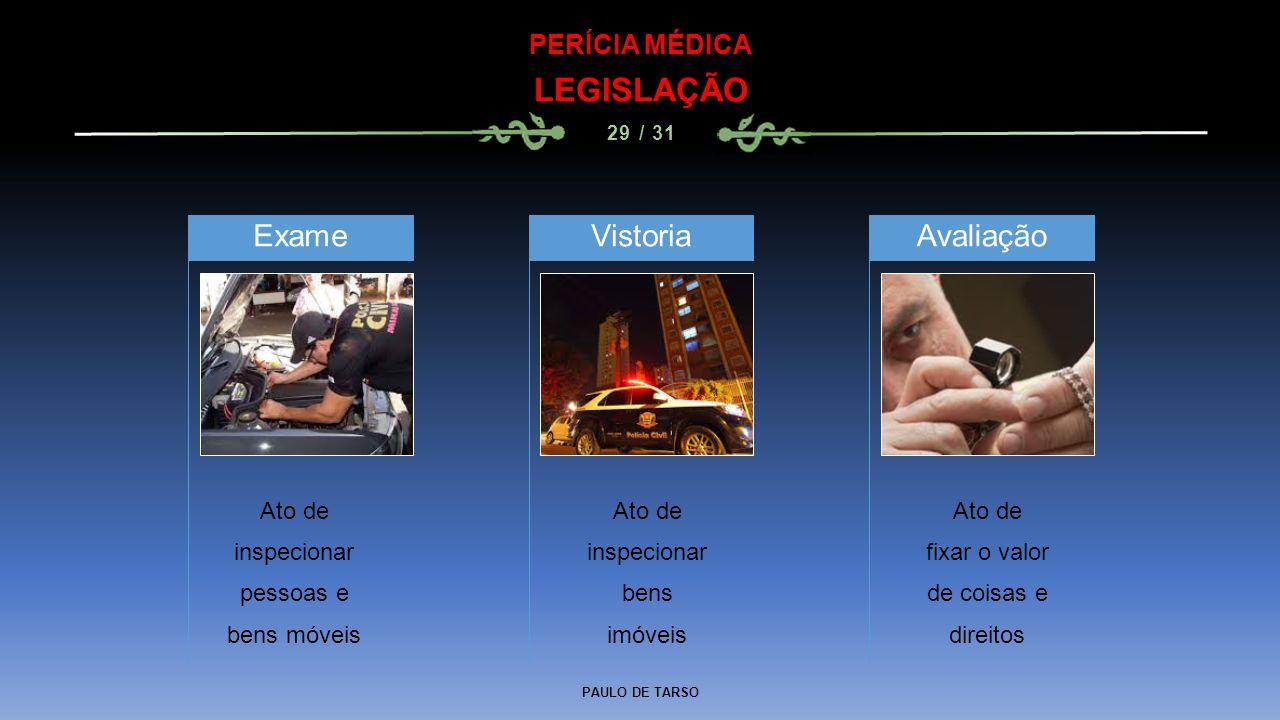 LEGISLAÇÃO Exame Vistoria Avaliação PERÍCIA MÉDICA Ato de