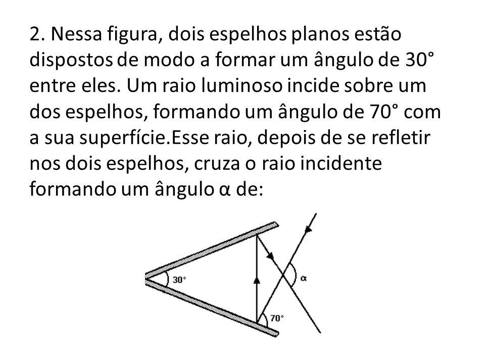 2. Nessa figura, dois espelhos planos estão dispostos de modo a formar um ângulo de 30° entre eles.