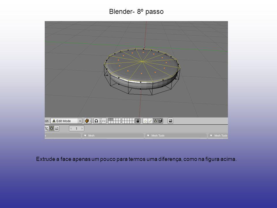 Blender- 8º passo Extrude a face apenas um pouco para termos uma diferença, como na figura acima.