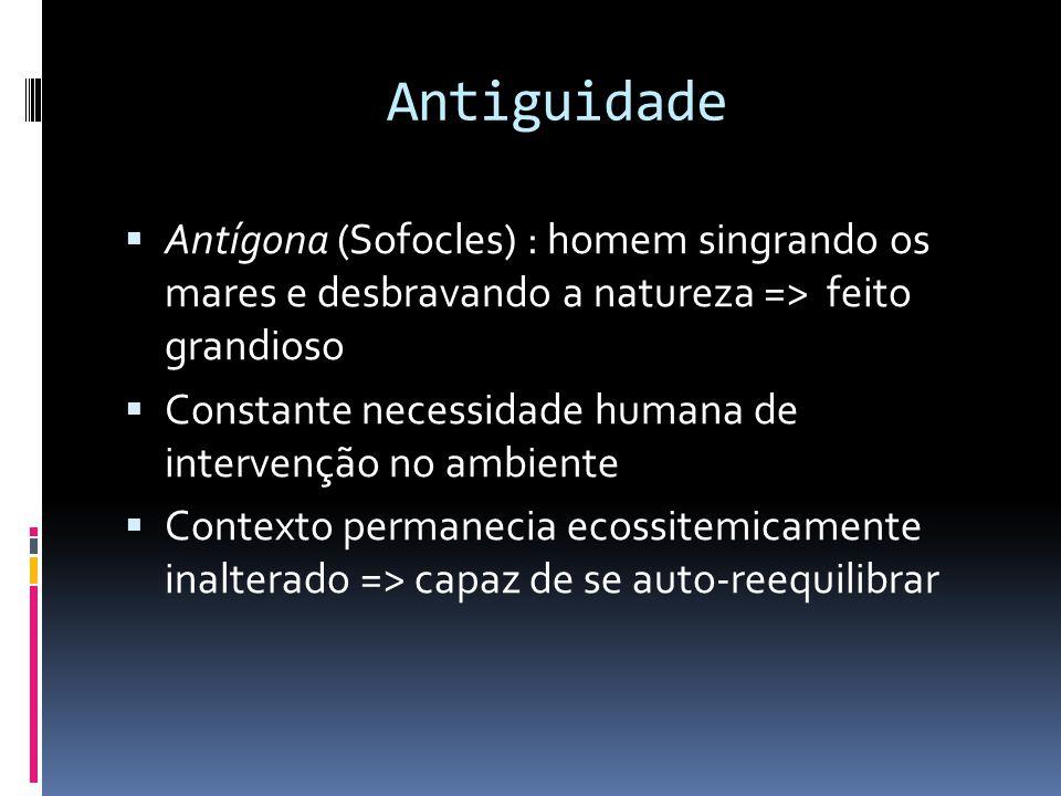Antiguidade Antígona (Sofocles) : homem singrando os mares e desbravando a natureza => feito grandioso.