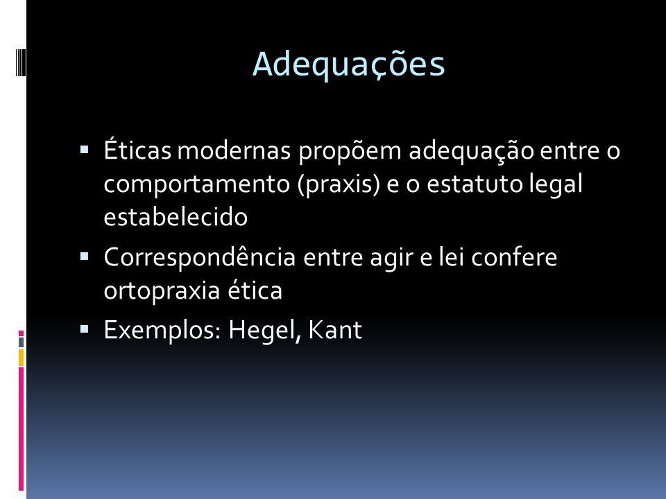 Adequações Éticas modernas propõem adequação entre o comportamento (praxis) e o estatuto legal estabelecido.