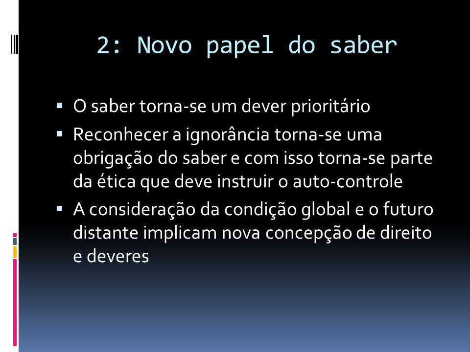 2: Novo papel do saber O saber torna-se um dever prioritário