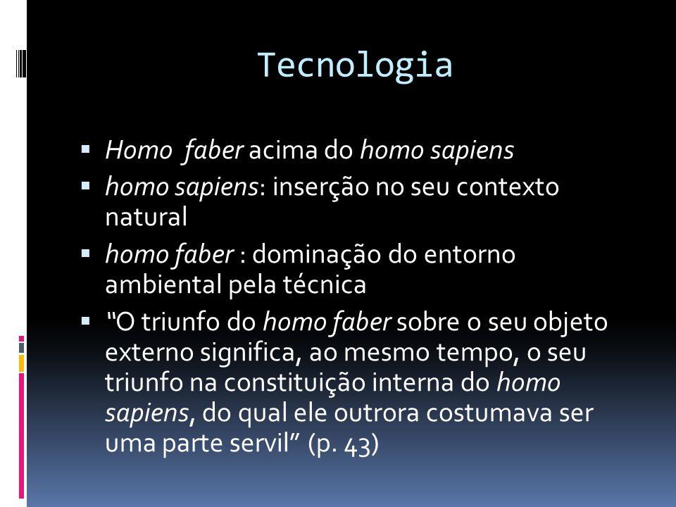 Tecnologia Homo faber acima do homo sapiens