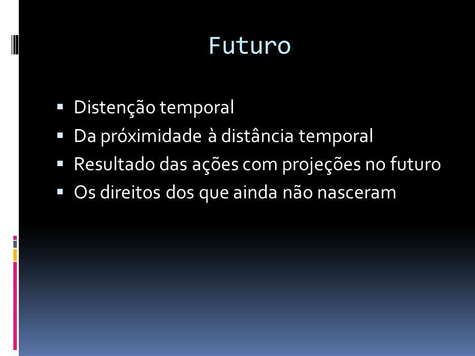 Futuro Distenção temporal Da próximidade à distância temporal