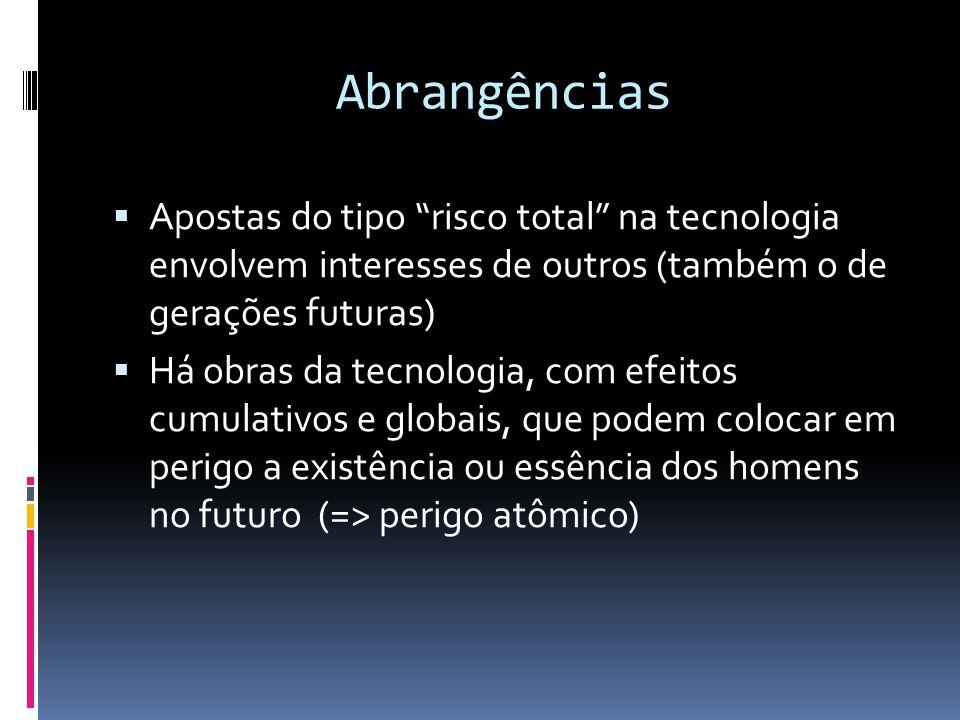 Abrangências Apostas do tipo risco total na tecnologia envolvem interesses de outros (também o de gerações futuras)