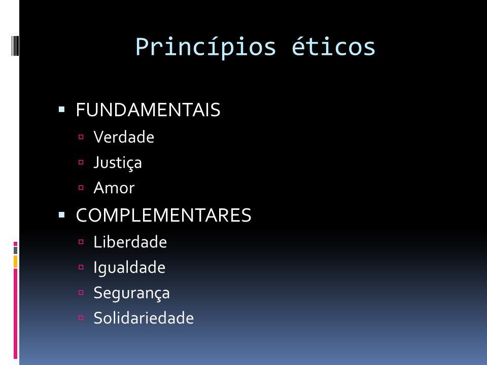 Princípios éticos FUNDAMENTAIS COMPLEMENTARES Verdade Justiça Amor