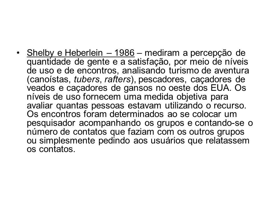 Shelby e Heberlein – 1986 – mediram a percepção de quantidade de gente e a satisfação, por meio de níveis de uso e de encontros, analisando turismo de aventura (canoístas, tubers, rafters), pescadores, caçadores de veados e caçadores de gansos no oeste dos EUA.