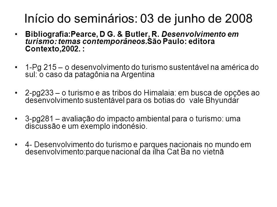 Início do seminários: 03 de junho de 2008