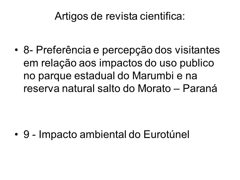Artigos de revista cientifica: