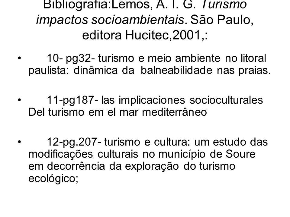Bibliografia:Lemos, A. I. G. Turismo impactos socioambientais
