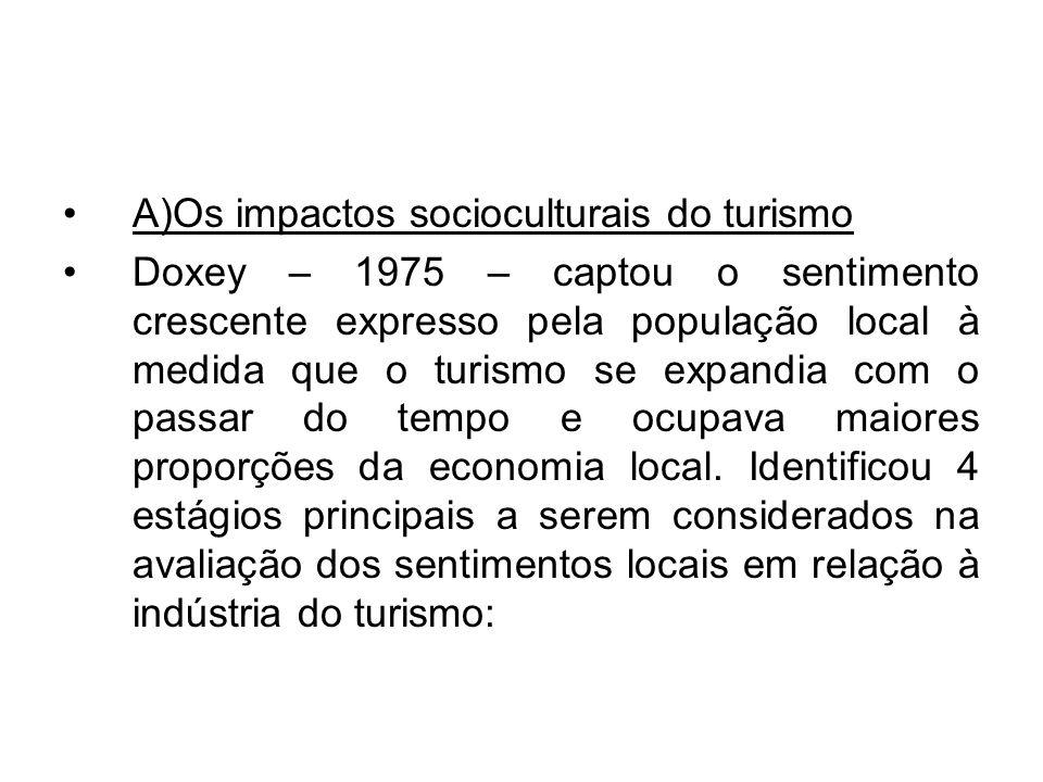 A)Os impactos socioculturais do turismo