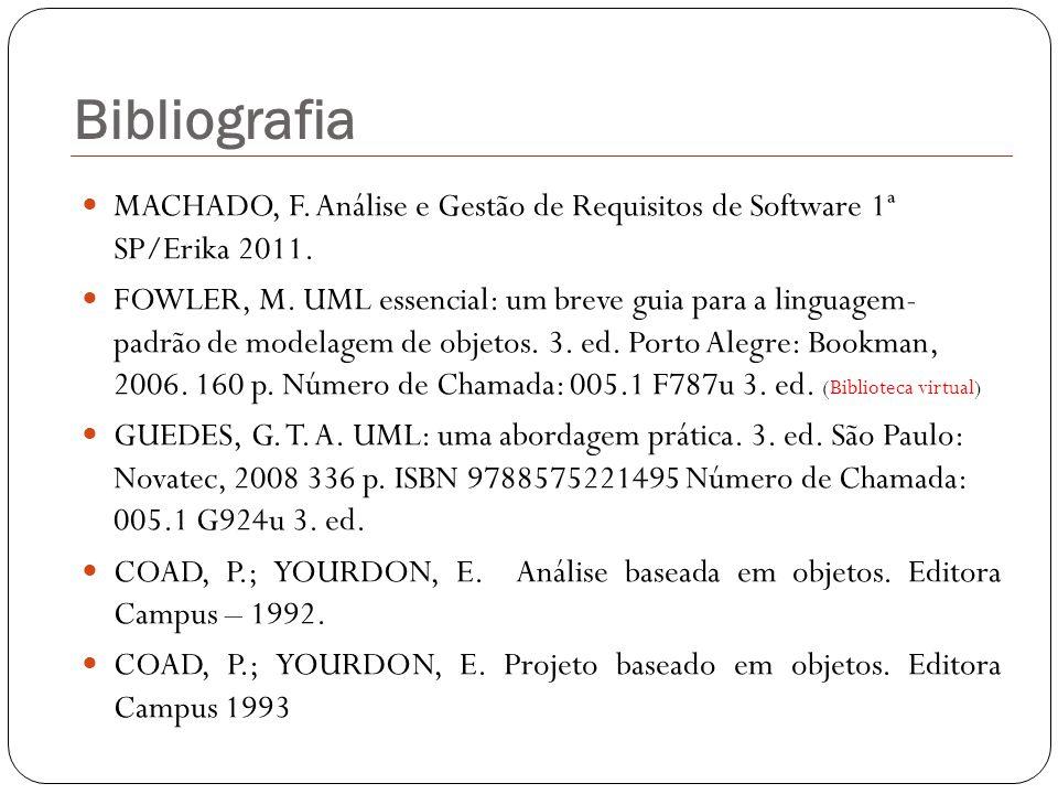 Bibliografia MACHADO, F. Análise e Gestão de Requisitos de Software 1ª SP/Erika 2011.