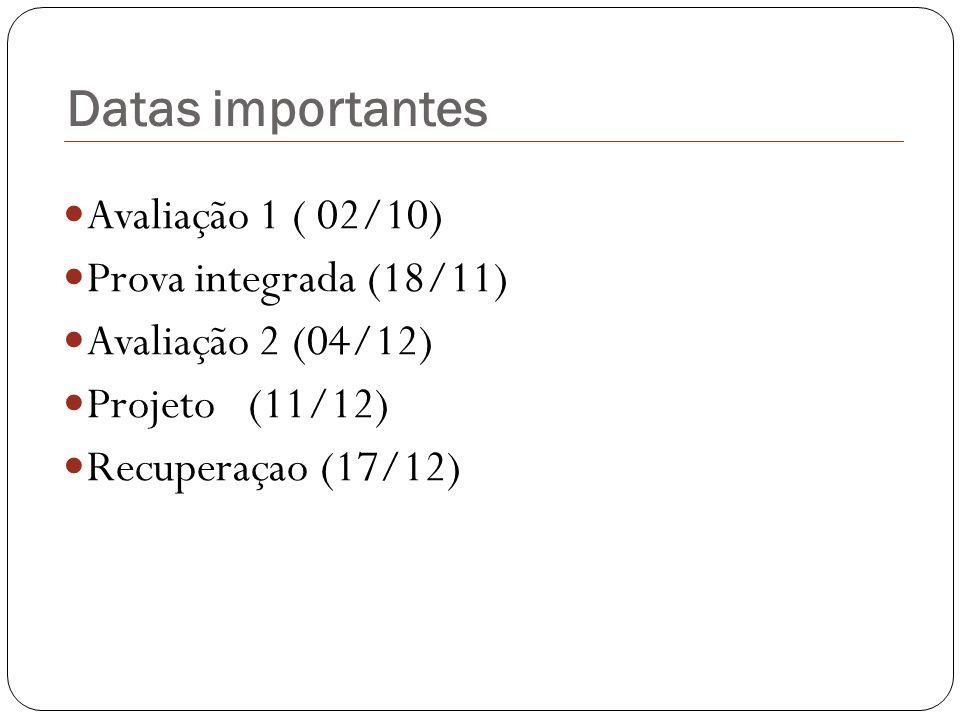 Datas importantes Avaliação 1 ( 02/10) Prova integrada (18/11)