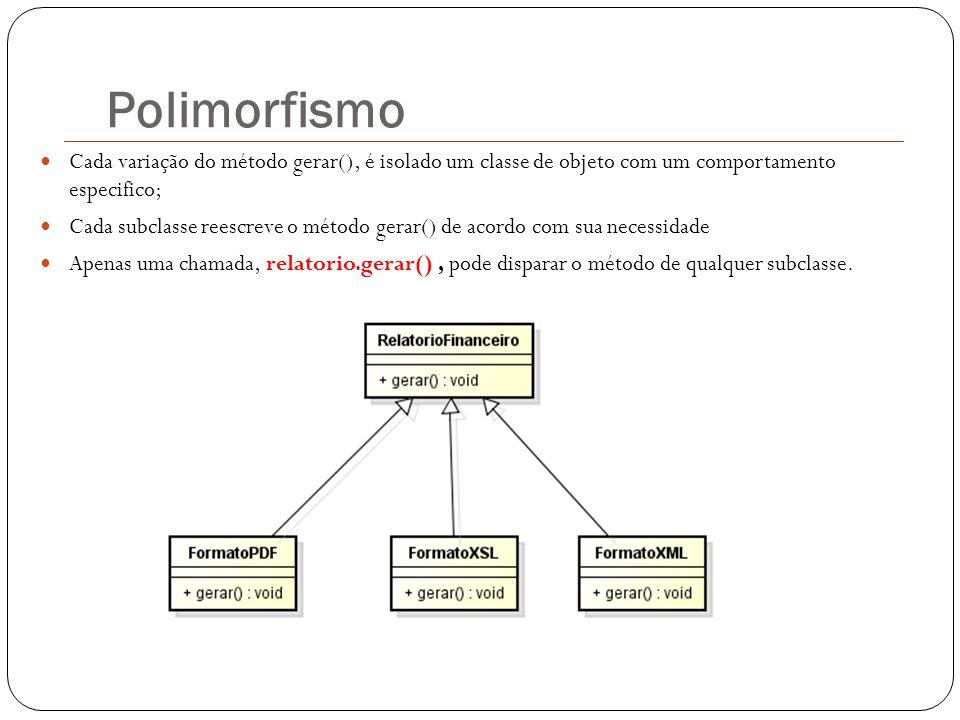 Polimorfismo Cada variação do método gerar(), é isolado um classe de objeto com um comportamento especifico;