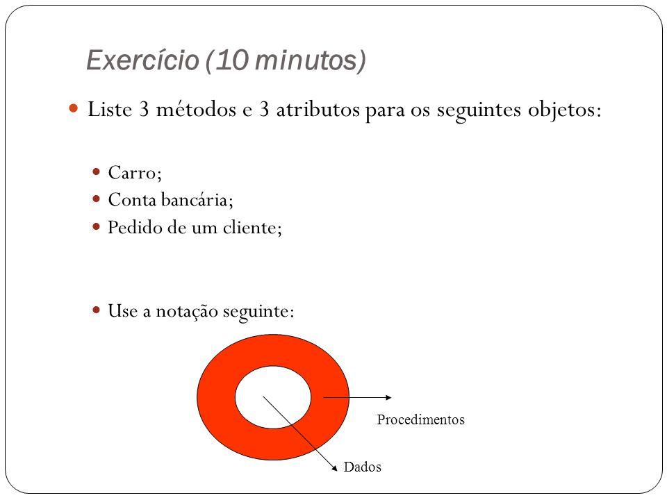Exercício (10 minutos) Liste 3 métodos e 3 atributos para os seguintes objetos: Carro; Conta bancária;