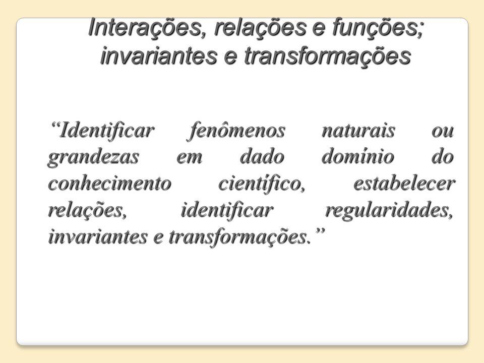 Interações, relações e funções; invariantes e transformações