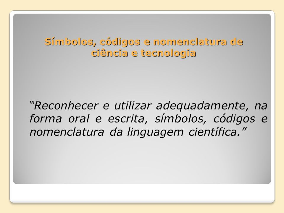 Símbolos, códigos e nomenclatura de ciência e tecnologia