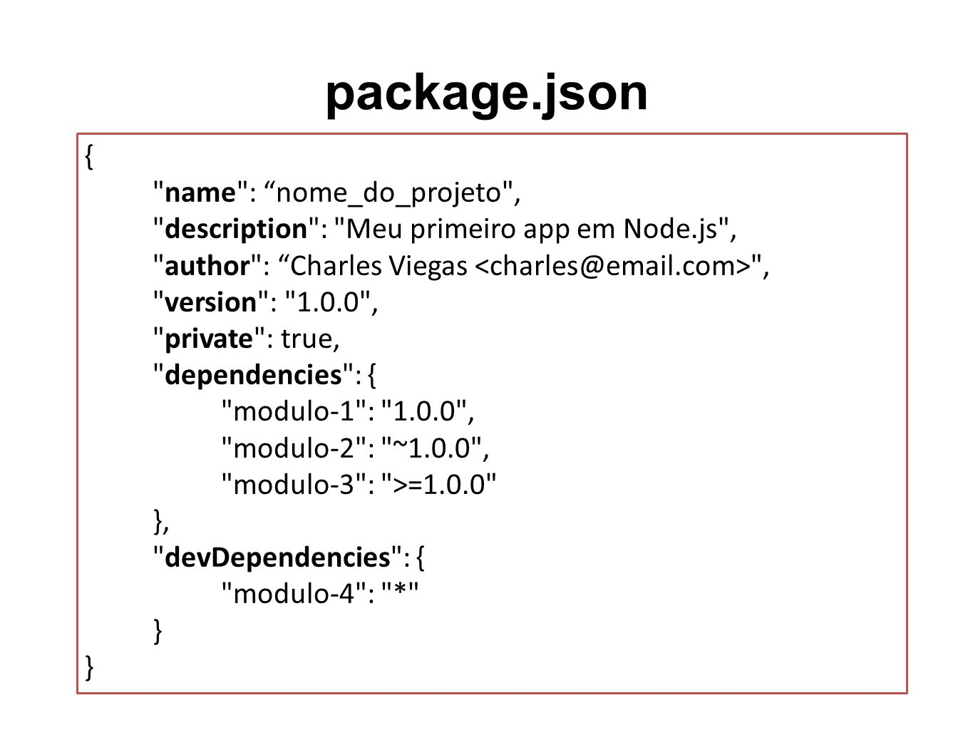 package.json { name : nome_do_projeto ,