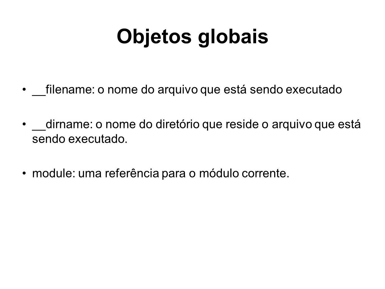 Objetos globais __filename: o nome do arquivo que está sendo executado