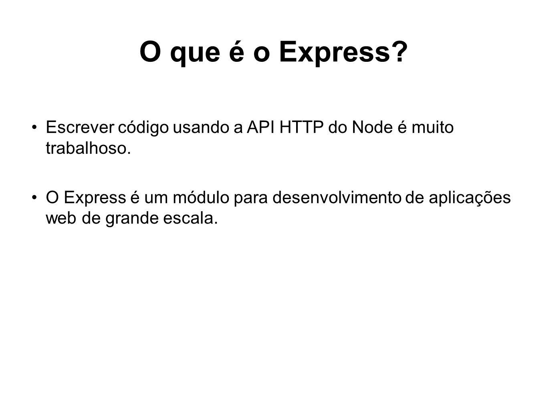 O que é o Express Escrever código usando a API HTTP do Node é muito trabalhoso.