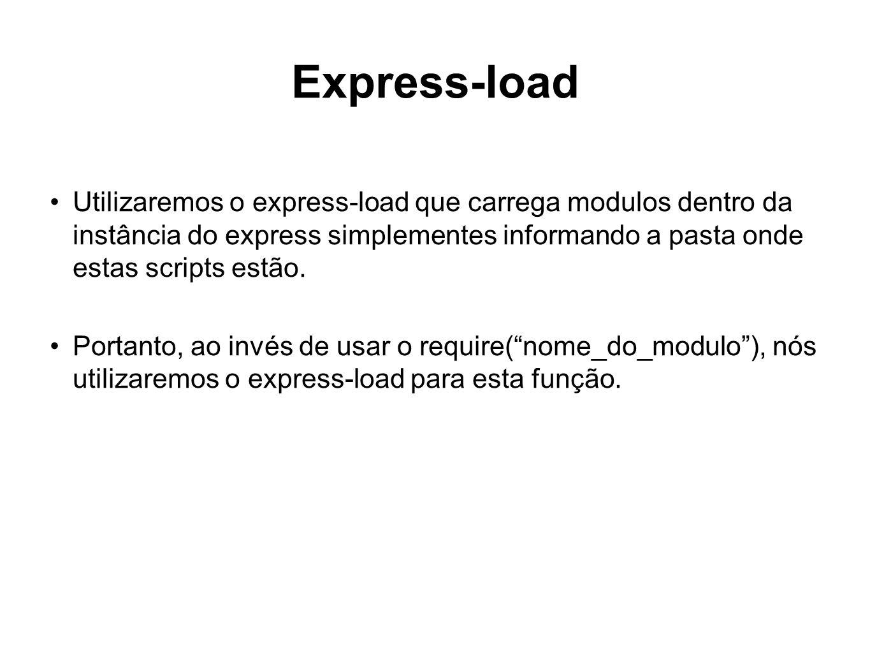 Express-load Utilizaremos o express-load que carrega modulos dentro da instância do express simplementes informando a pasta onde estas scripts estão.