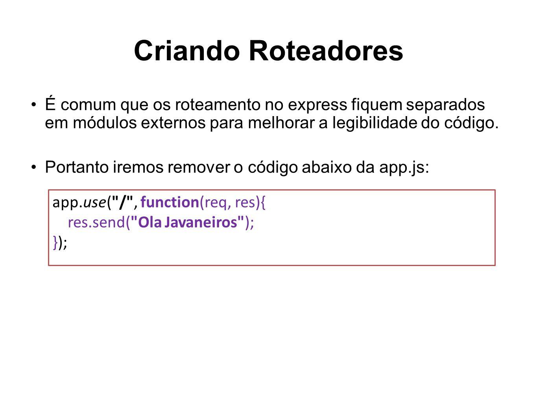 Criando Roteadores É comum que os roteamento no express fiquem separados em módulos externos para melhorar a legibilidade do código.