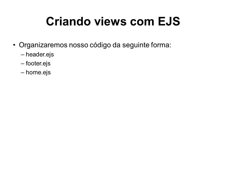 Criando views com EJS Organizaremos nosso código da seguinte forma:
