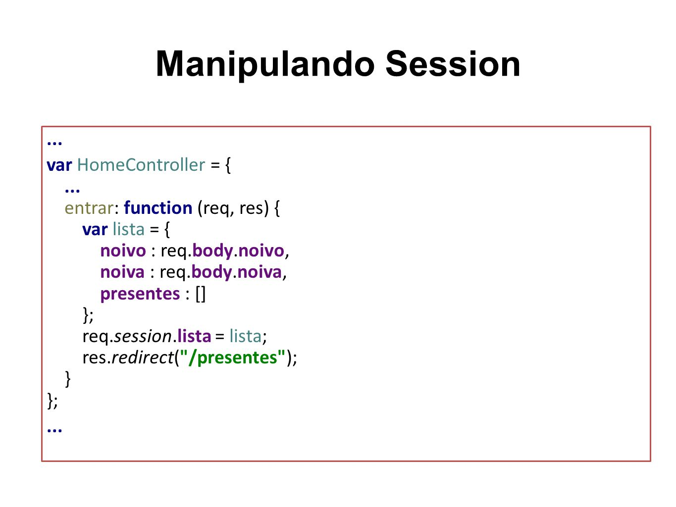 Manipulando Session ...