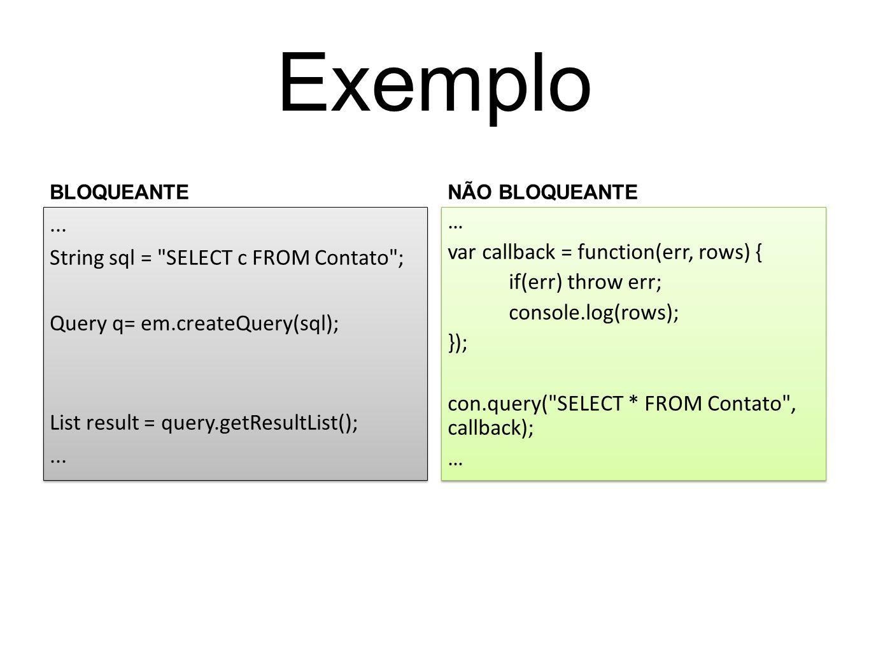 Exemplo BLOQUEANTE. NÃO BLOQUEANTE. ... String sql = SELECT c FROM Contato ; Query q= em.createQuery(sql); List result = query.getResultList();