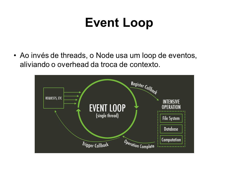 Event Loop Ao invés de threads, o Node usa um loop de eventos, aliviando o overhead da troca de contexto.